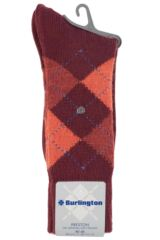 Mens 1 Pair Burlington Preston Extra Soft Feeling Argyle Socks Packaging Image