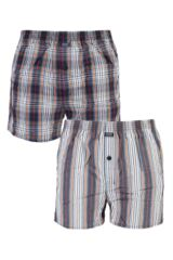 Mens 2 Pack Jockey Check and Stripe Woven 100% Cotton Boxer Shorts