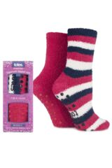 Ladies Totes Supersoft Stripe and Plain Socks Twin Pack In 4 Colours
