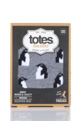 Mens 1 Pair Totes Original Novelty Slipper Socks with Grip Packaging Image