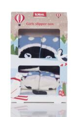 Girls 2 Pair Totes Novelty Penguin and Polar Bear Slipper Socks with Grip Product Shot