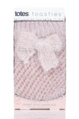 Ladies 1 Pair Totes Bow Sparkle Chunky Knit Socks Packaging Image