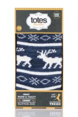 Mens 1 Pair Totes Reindeer Fairisle Chunky Lined Socks Packaging Image