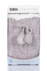 Ladies 1 Pair Totes Cable Front Chenille Lined Socks with Pom Pom Packaging Image