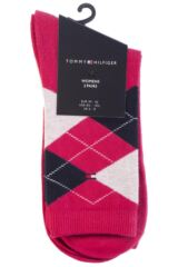 Ladies 2 Pair Tommy Hilfiger Argyle and Plain Cotton Socks Packaging Image