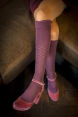 Ladies 1 Pair Falke Romance Pelerine Cotton Knee High Socks Leading Image