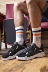 Mens 1 Pair Hugo Boss Combed Cotton Ribbed Sports Socks Leading Image