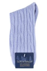 Ladies 1 Pair SockShop of London 100% Cashmere Cable Knit Bed Socks Packaging Image