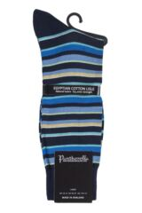 Mens 1 Pair Pantherella Marmara Multi Stripe Cotton Lisle Socks Product Shot