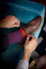 Mens 1 Pair Richard James Kerr Diagonal Stripe with Block Foot Merino Wool Socks Leading Image