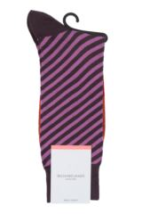 Mens 1 Pair Richard James Kerr Diagonal Stripe with Block Foot Merino Wool Socks Product Shot