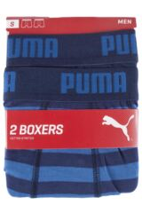Mens 2 Pair Puma Plain and Striped Cotton Boxer Shorts Packaging Image