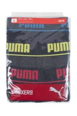 Mens 3 Pack Puma Plain Cotton Boxer Shorts With Contrast Waistband Packaging Image