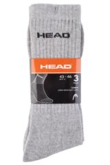 Mens 3 Pair Head Plain Cotton Sport Crew Socks In Grey Product Shot