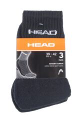 Mens and Ladies 3 Pair Head Short Crew Cushioned Sports Socks Packaging Image