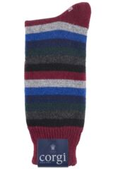 Mens 1 Pair Corgi 100% Cashmere Multi Striped Socks Product Shot