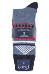 Mens 1 Pair Corgi Heavyweight Wool Aztec Socks Product Shot