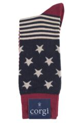 Mens 1 Pair Corgi Lightweight Wool Stars N Stripes Socks Product Shot