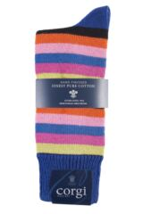Mens 1 Pair Corgi Heavyweight 100% Cotton Bold Striped Socks Product Shot