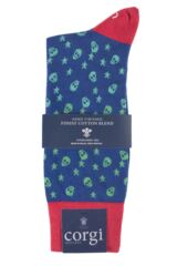 Mens 1 Pair Corgi Lightweight Cotton Skull and Star Patterned Socks Packaging Image