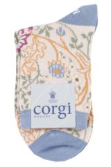 Ladies 1 Pair Corgi Floral Lightweight Cotton Socks Packaging Image