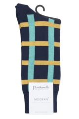 Mens 1 Pair Pantherella Halston Windowpane Cotton Socks Packaging Image