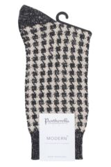 Mens 1 Pair Pantherella Hoyland Flatknit Houndstooth Cotton Cashmere Socks Packaging Image