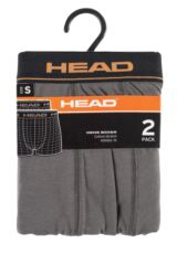 Mens 2 Pack Head Basic Cotton Boxer Shorts In Grey Packaging Image