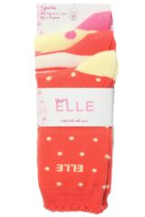 Girls 3 Pair Young Elle Red Spots and Stripe Socks
