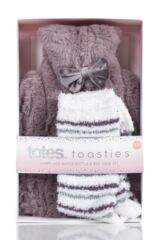Ladies Totes Furry Hot Water Bottle and Socks Set Packaging Image