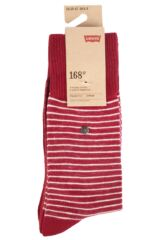 Mens 2 Pair Levis 168SF Comfort Top Fine Striped Cotton Socks Packaging Image