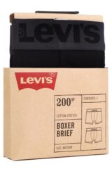 Mens 2 Pack Levis Plain Cotton Boxer Shorts In Jet Black Packaging Image