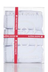 Mens 3 Pack Bjorn Borg Basic Cotton Short Shorts In White Product Shot