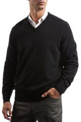 Mens Great & British Knitwear 100% Lambswool Plain V Neck Jumper Blacks and Greys