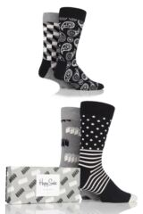 Mens and Ladies 4 Pair Happy Socks Monochrome Combed Cotton Socks In Gift Box