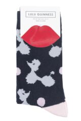 Ladies 3 Pair Lulu Guinness Poodles Stripes and Dots Cotton Socks Packaging Image