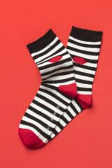 Ladies 3 Pair Lulu Guinness Dot and Stripes Cotton Socks Leading Image