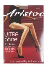 Ladies 1 Pair Aristoc 10 Denier Ultra Shine Control Top Tights with Silk Finish Packaging Image