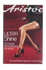 Ladies 1 Pair Aristoc 10 Denier Ultra Shine Stockings with Silk Finish Packaging Image