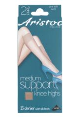 Ladies 2 Pair Aristoc 15 Denier Medium Support Knee Highs Packaging Image