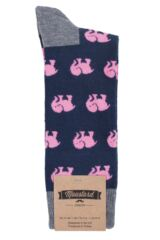 Mens 1 Pair Moustard Animal Design Socks - Elephant Packaging Image