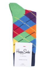 Mens and Ladies 1 Pair Happy Socks Argyle Combed Cotton Socks Product Shot