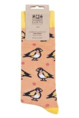 Mens and Ladies 1 Pair Shared Earth Fair Trade Bamboo Goldfinches Socks Packaging Image