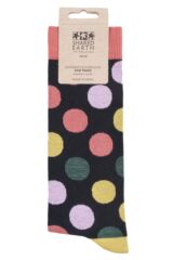 Mens and Ladies 1 Pair Shared Earth Fair Trade Bamboo Polka Dots Socks Packaging Image