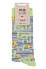 Mens and Ladies 1 Pair Shared Earth Square Swirls Fair Trade Bamboo Socks Packaging Image