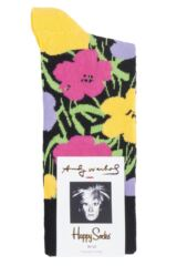 Mens and Ladies 1 Pair Happy Socks Andy Warhol Flowers Socks Packaging Image
