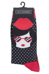 Ladies 1 Pair LuLu Guinness Heart-Shaped Glasses Bamboo/Cotton Socks Packaging Image