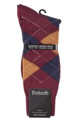 Mens 1 Pair Pantherella Racton Heavy Gauge Merino Wool Argyle Socks Packaging Image