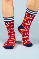 Mens 1 Pair Moustard Basketball Cotton Socks Leading Image