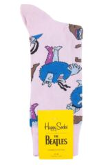 Mens and Ladies 1 Pair Happy Socks The Beatles Chief Blue Meanie and Jeremy Cotton Socks Product Shot